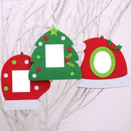 Kids photos frames online shopping - Christmas Tree Hanging Ornament Xmas Mini Photo Frame Non woven Fric Family Portrait Photo Frame for Kids Gift Christmas Decor