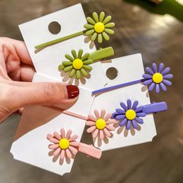 sunflowers hair clips NZ - New style Hair Clips net red sunflower girl frosted candy color small daisy hair accessories