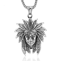 $enCountryForm.capitalKeyWord Australia - jingyang stainless steel vintage Indian chief titanium steel men's necklaces & pendants power necklace best friends pendant chains