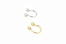 nose piercing free NZ - Lot50pcs New Clip On Fake Nose Lip Hoop Rings Earrings Ear Stud Helix Rings No Hole Non Piercing Body Jewelry Free shipment