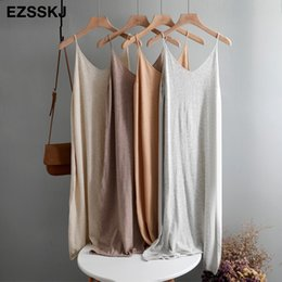 Wholesale spring knitting vest resale online - oversize Spring autumn Woman Knitted Tank Dress Casual Long Camisole Vest dress Women Loose cashmere maix a line dress