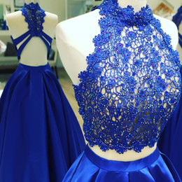 $enCountryForm.capitalKeyWord Australia - Fashion Royal Blue Cheap Prom Party Dresses Two Pieces Halter Sheer Neck Lace Sequins Satin A line Evening Formal Dress Long Cheap