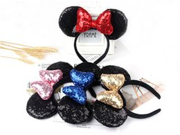 Discount cute hair accessories for children - New girl Cute Black Mouse Sequin Crown Ear Hairband With Sequin Hair Bow Kids Bling Glitter Hair Bands Holiday Hair Acce