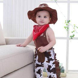 Christmas Clothes Scarf Australia - European and American style kids clothing set Cosplay western denim cotton sleeveless straps jumpsuit + hat + triangle scarf