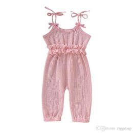 $enCountryForm.capitalKeyWord Australia - INS Stylish Infant Baby Girls Overalls Rompers Summer Design Blank Ruffles Clothes Jumpsuits Toddler Outfits Cotton Bodysuits Suspender 0-2T