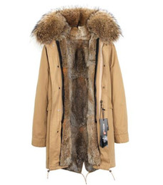 raccoon hooded parka UK - Brown Grass rabbit furs Liner removable Ladies Long parkas hooded with Raccoon fur collar warm for cold winter JAZZEVAR Brand