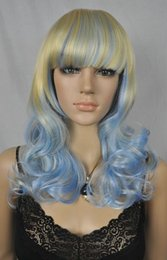 Blonde hair Blue extensions online shopping - price Hot Sell TSC New long blue mixed blonde curly synthetic wig