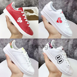 Boys gold sneakers online shopping - Best gold stamping stan simth casual shoes laser trail love eyes flowers triple white black genuine leather womens mens designer sneakers