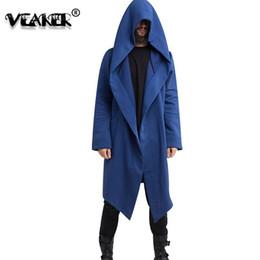 Mantle Clothes Australia - 3XL Hoodies Men Black Cardigan Hoodie Male Hooded Mantle Clothing Cloak NEW Windbreak Outerwear Heap Collar Cool Jacket Overcoat