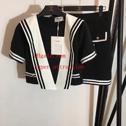 $enCountryForm.capitalKeyWord Australia - dresses set women two piece outfits Tracksuit contrast color navy collar t shirt A-line high waist skirt 2pcs suit women clothes uu-1