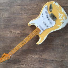 ElEctric guitar nEck lEft online shopping - Factory scallop Maple neck retro electric guitar and White Pickguard chrome hardware provide cutting free deliver