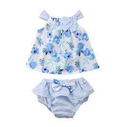China Newborn Baby Girls Clothes Set Sleeveless Summer Bow Floral Dress Tops Ruffle Shorts Cotton Girl Clothing Casual Outfit 0-3T supplier baby girl leopard shorts set suppliers