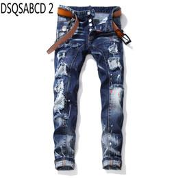 European Style Pants For Men Australia - European American Style famous brand jeans casual Men Slim jeans denim trousers button blue hole Pencil Pants for men 1027