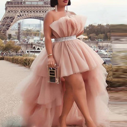 High Low Party Dresses With Sash Strapless Dusty Pink Tulle Puffy Cocktail Party Dress Tiered Custom Made Cheap Prom Dress on Sale