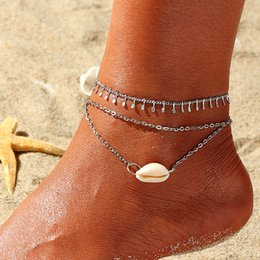 anklet NZ - Fashion vintage natural shell beach wind foot accessories girls multiple alloy anklet jewelry