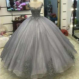 masquerade ball long gowns Australia - Glitter Grey Silver Ball Gown Princess Prom Dresses Lace Appliqued Victorian Formal gowns for masquerade Ball sweet 16 dresses Prom Gowns