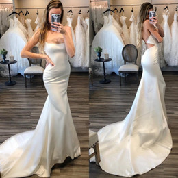 $enCountryForm.capitalKeyWord Australia - Sexy Mermaid Wedding Dresses Backless Bridal Gowns Sweep Tail Spaghetti Satin Beach Wedding Gowns Custom Made Styles