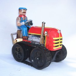 Metal Machinery Australia - [TOP] Adult Collection Retro Wind up toy Metal Tin Farmer on Agricultural machinery tractor Mechanical Clockwork toy figures