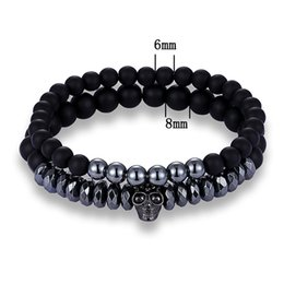 Wholesale 2 piece set of glamour men s micro set Skeleton scrub stone bracelet elastic bracelet gift
