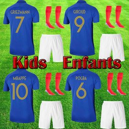 35fb3071f Kids soccer jersey with socks football shirt MBAPPE maillot child GRIEZMANN  boy girls GIROUD POGBA soccer uniform kits kids sets
