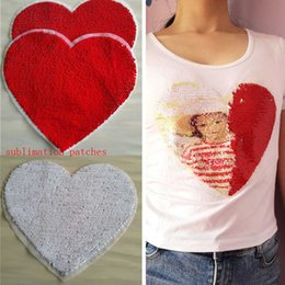 $enCountryForm.capitalKeyWord Australia - new sublimation blank Sequins heart shape red patch consumables without back glue hot transfer printing custom patches material