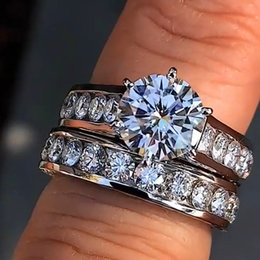 IndIan dIamond rIng settIngs online shopping - Crystal Female Big Stone Ring Set Boho Fashion Queen Silver Bridal Engagement Rings For Women Promise Love Finger Ring