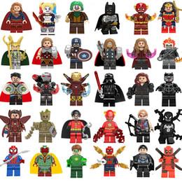 Опт NEW Супер герой Mini Цифры Marvel Avengers DC Лига Справедливости Wonder женщина Deadpool Batman Гроот строительные блоки Дети подарки