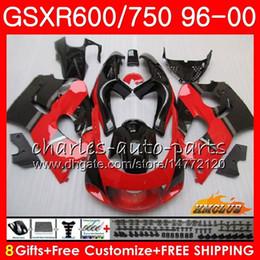98 Srad Fairing Red Australia - Body For SUZUKI SRAD GSXR-600 Stock red blk GSXR750 1996 1997 1998 1999 2000 1HC.9 GSX-R750 GSXR 750 600 GSXR600 96 97 98 99 00 Fairing kit