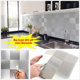 "cartoon wall tiles for bathroom NZ - 12""x12"" Square 3D Self-Adhesive Metal Mosaic Tile Backsplash for Kitchen Bathroom Stove Walls Waterproof Home Decoration Sticker CJ191219"
