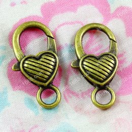 $enCountryForm.capitalKeyWord Australia - 20pcs 26*13MM Antique bronze metal heart lobster clasp hook vintage bracelet clasp Connector alloy diy key jewelry clasp making Findings