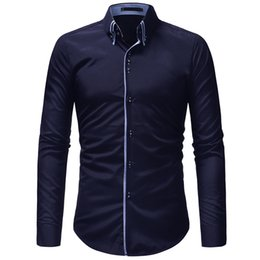 Double Shirt Designs Canada - Men Shirt 2019 Autumn Winter New Fashion Casual Dress Shirt Social Business Long-sleeved Double Collar Design Clothing