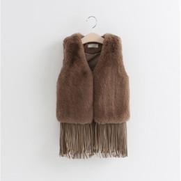 Faux Fur waistcoat vest jacket online shopping - 3 T Baby girl waistcoat Faux fur Children Clothes Fur Jacket sleeveless fringed Vest Fur waistcoat