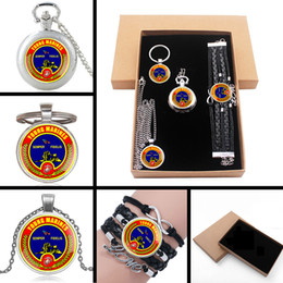 China United States Young Marines Semper Fidelis Jewelry Gift Set Have Pocket Watch , Pendant Necklace , Key chain, Bracelet With Box supplier young necklace suppliers