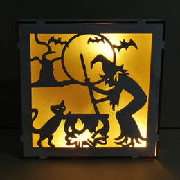 wooden animal patterns Australia - Square Frame Halloween Decorative Wooden LED Light Festive Decoration Supplies Etch Witch Cat and Haunted house Pattern