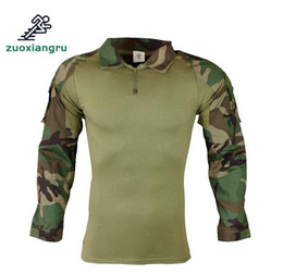 camouflage paintball 2019 - Shooting Tactical Force Multicam Camouflage Shirt Men Outdoor Hunting Training Paintball Army Combat Long Sleeve T-shirt