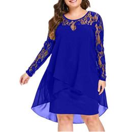 c220535686 Women Plus Size Chiffon Dresses Women New Fashion Chiffon Overlay Three  Quarter Sleeve Stitching Irregular Hem Lace Dress