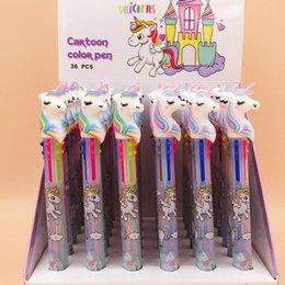 Bonito Dos Desenhos Animados 6 Cores em 1 Unicórnio Caneta Esferográfica Rainbow Kawaii Caneta Esferográfica Escola Material de Escritório Crianças Papelaria Presente