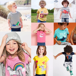 Plaid Tee Kids Australia - Summer Designer Baby Kids Tees Embroidery 100% Cotton Children Boys Girls Tops Unicorn Horse Rainbow Stripes Car Girls Short Sleeve T-shirts