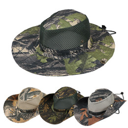 military hat wholesale Canada - Boonie Hat Sport leaf Jungle Military Cap Adults Men Women Cowboy Wide Brim Hats For Fishing Packable Army Bucket Hat LJJA1946