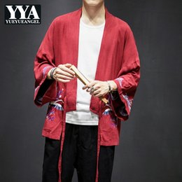 Chinese Robe Men NZ - 2019 Summer Men Vintage Cardigan Robe Chinese Style Design Male Embroidery Animal Oversize Jacket Plus Size 4XL 5XL Thin Clothes