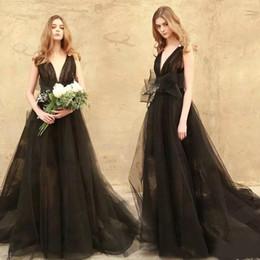 $enCountryForm.capitalKeyWord NZ - Black Gothic Wedding Dresses Vintage Deep V Neck Backless Big Bow A Line Tulle Sweep Train Bridal Gowns Custom Plus Size