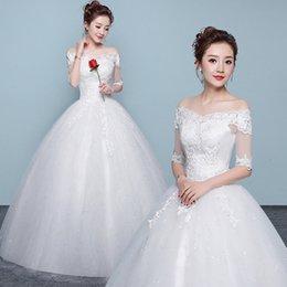Ingrosso Bianco Vestido De Noiva 2019 Nuovo design Una linea perfetta cintura Robe De Mariage senza spalline Lace Up Abiti da sposa