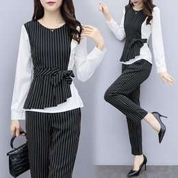 $enCountryForm.capitalKeyWord Australia - YICIYA striped 2 piece set women office work pants suits plus size 3xl 4xl 5xl outfits co-ord set winter bodycon slim clothing