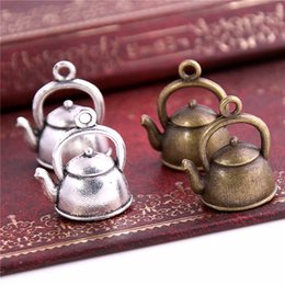Wholesale Teapot Necklace NZ - SWEET BELL 150pc 19*16*10mm 3D Kettle Charms Teapot pendant two color DIY Retro Jewelry Bracelet Necklace charms pendant D6340