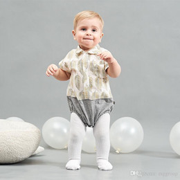 $enCountryForm.capitalKeyWord UK - INS High-end 100% Cotton Toddler Baby Boys Polo Rompers Front Button Short Sleeve Leaf Printing Patchwork Jumpsuit Newborn Onesies for 3-18M