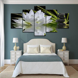 $enCountryForm.capitalKeyWord Australia - 5PCS Framed White Lotus Flower Wall Art Pictures for Bed Room Decor Posters and Prints Canvas Painting