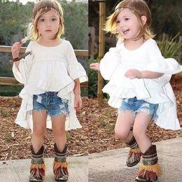 $enCountryForm.capitalKeyWord UK - Toddler Baby Girls White Mini Dress Frills Flare Sleeve Cotton Top Kids Wedding Party Ruffles Pageant Dresses Sundress 1-6Y