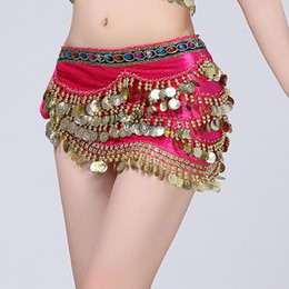 sexy hip chains NZ - 9 Colors Adult Belly Dance Stage Performance Hip Belt Hip Scarf for Women Dance Costume Waist Chain Hanging Coin Rhinestone Sexy
