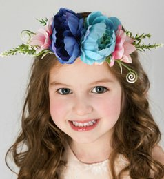 $enCountryForm.capitalKeyWord Australia - Girls princess wreath kids simulation flowers crown baby girls rattan weaving garlands children pageant headbands hair accessories F9287