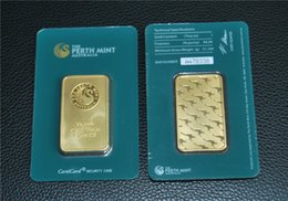 Free Shipping 10pcs lot,Australian Perth Mint 1 oz Green Plated 24K Gold Bar - High Quality & Collectibles &Gifts - Crafts on Sale